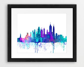 New York City Skyline Printable File, NYC Cityscape Watercolor Violet Purple Green Cyan - Modern Wall Art, Home Office Decor Digital Print