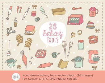 28 Hand Drawn Bakery Tools Downloadable Vector Clipart