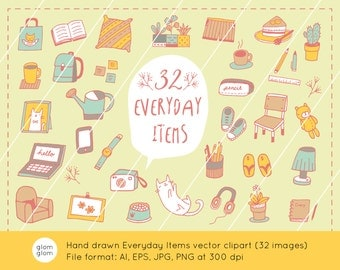 32 Hand Drawn Everyday Items Downloadable Vector Clipart