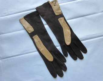 Vintage Gloves~Soft Brown Tan Leather Soft Suede~Alexette BACMO New York~Size 6~Appear Unused~Retro Stylish Gloves~1940's~Driving or Autumn