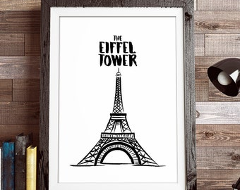 The Eiffel Tower, Paris, Illustrations, Typography, Home Poster, Gift Idea, Office Poster, Work Poster, Gift Poster, Wall Art Decor