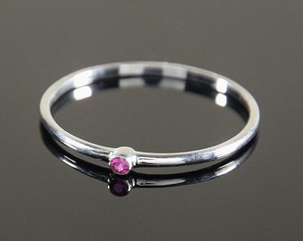 Ruby ring, Silver ruby ring, Solitaire ring, Tiny ring, Small ring, Dainty ring, Petite ring, Birthstone ring, Gemstone ring