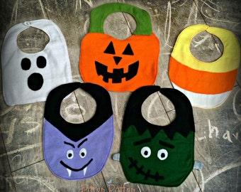 Halloween Bibs -Frankenstein - Vampire- Candy Corn -Pumpkin - Ghost - Baby's 1st Halloween - Baby Bibs - Halloween Gifts - Baby Accessories