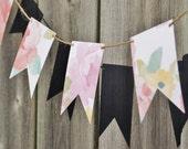 Small floral watercolor design cardstock banner, birthday party decor, girl party, wedding decor, spring decor, adjustable banner.