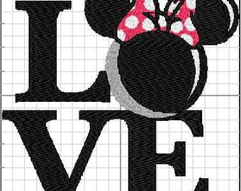 Love Mouse Girl machine embroidery design for 4x4 hoops