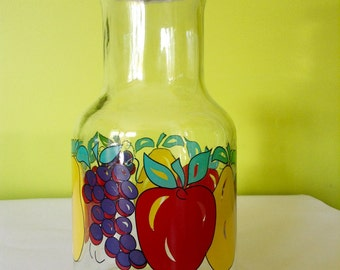 Retro Glass Carafe with Lid Bright Coloured Fruit Pattern
