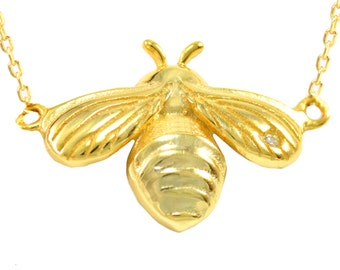 Gold Vermeil Little Bumble Bee Necklace in Sterling Silver 16'' - 18'' - Dainty and Delicate