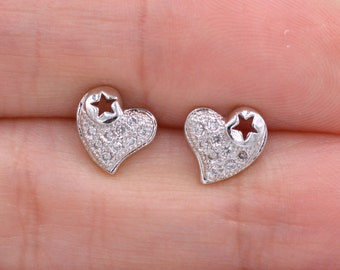 Sparkly Little Heart Stud Earrings with CZ Crystals z14