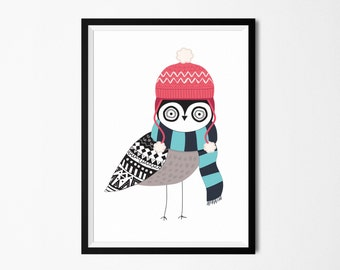 Poster print wall art. Illustration art print with modern bird. Art deco for instant download. Digital print. Available in 3 sizes.
