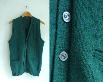 50%offJune27-30 mens sweater vest size medium large, dark teal green, button down vest, wool blend 70s mad men 1970s mens jumper waistcoat
