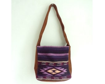 southwestern tapestry & suede bag, suede leather bag, purple tribal bag, 80s shoulder bag, 1980s handbag purse