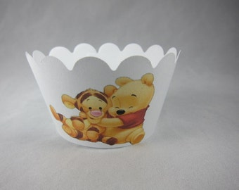 Set of 24 pc, Winnie the pooh cupcake wrappers and cupcake picks set , Birthday party set