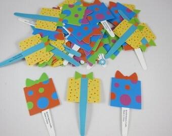 Set of 24 Present Box Cupcake toppers, cupcake picks