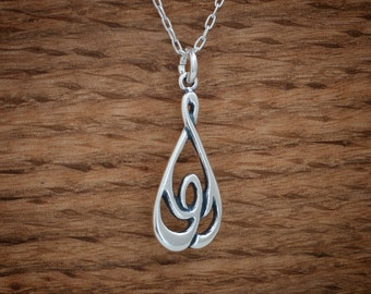 Celtic Knot Raindrop Pendant or Earrings - STERLING SILVER- Chain Optional