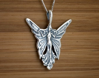 STERLING SILVER Art Noveau Butterfly Fairy Pendant, Necklace - Chain Optional