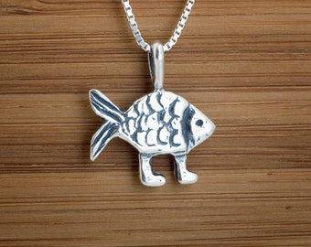 Darwin Fish with feet My ORIGINAL Pendant - STERLING SILVER-  Chain Optional