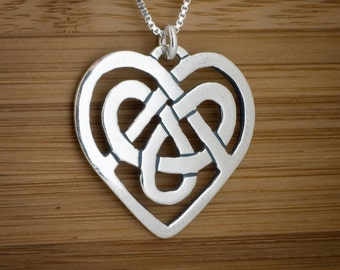 Celtic Heart Knot Pendant  - STERLING SILVER - Chain Optional