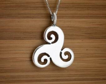 STERLING SILVER Celtic Triskelion Triskele Trinity Pendant - Chain Optional