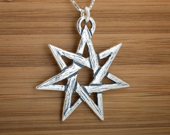 STERLING SILVER Fairy Star Heptagram My ORIGINAL Pendant - Chain Optional