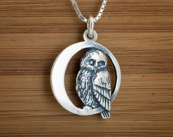 Sterling Silver Owl in the Moon, My ORIGINAL  Necklace or Earrings- STERLING SILVER-  Chain Optional