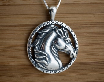 Horse Head Portrait Pendant  My ORIGINAL - STERLING SILVER- Chain Optional