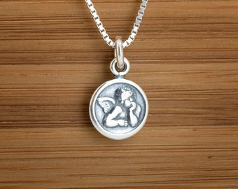 Angel Cherub Charm or Earrings - Small - STERLING SILVER- Chain Optional