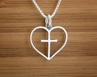 Heart with Cross Charm or Earrings - STERLING SILVER-   Chain Optional