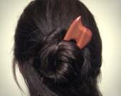 Wooden Hair Fork, hairfork, wood, hair stick, two prong, haarforke, plum wood, haarnadel, peigne, horquilla