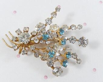 Dainty Vintage Clear and Aqua Rhinestone Flower Spray Brooch Pin