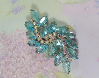 Stunning Vintage Aqua Navette and AB Rhinestones Brooch Pin