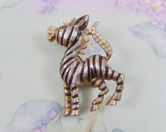 Vintage JJ Signed Rhinestone Zebra Brooch Pin