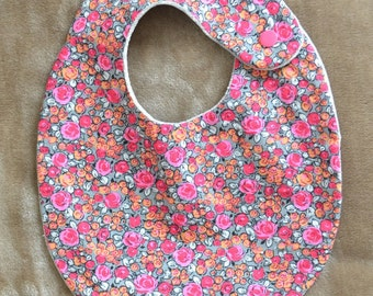 Bib in pink, salmon and grey cotton