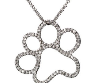 Dog Paw Necklace with Rhinestones