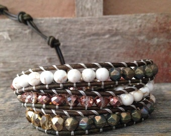 Green/Pink/White/Gold Wrap Bracelet