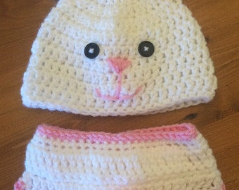 Bunny Hat and Diaper Cover/ Rabbit Hat and Diaper Cover/ Bunny Photo Prop