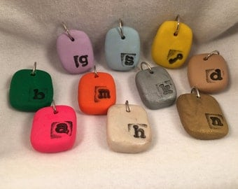 Stamped Polymer Clay Pendants