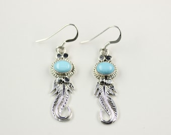 Navajo .925 Sterling Silver Turquoise French Hook Earrings By Lee Shorty