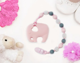 Teething Toy, Silicone Teether, Unique Baby Gift idea Elephant toy, Baby Carrier Accessory Teething Ring, Baby shower gift idea for new mom