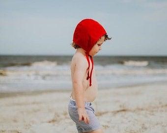 Red linen baby bonnet