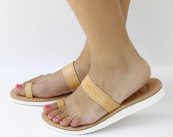 Women natural brown leather sandals, white rubber sole, leather sandals, natural tanned leather
