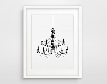 Chandelier Print / Black Chandelier Art / Black And White Picture / Dining Room Art / Living Room Decor / Black Chandelier Poster Wall Decal