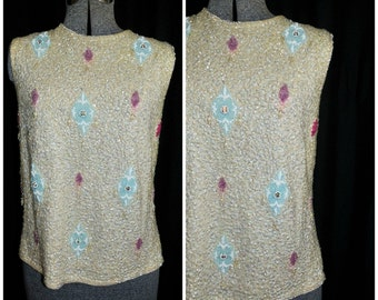 VTG 50's 60's Sequin Shell Top Tank / Ivory Wool, Metal Zipper by Cardell / Size MED / Party Formal