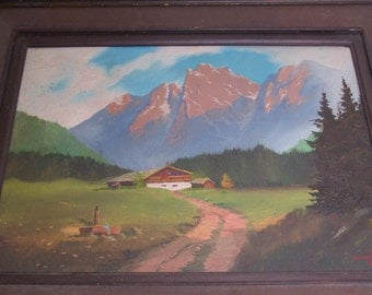 vintage original framed oil painting, a house in the countryside