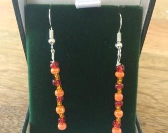 Color Beaded Dangle Earrings