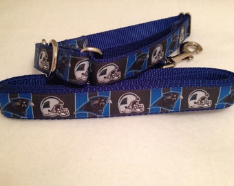 Carolina Panthers Dog Collar, Panthers Martingale Dog Collar, Carolina Panthers Leash