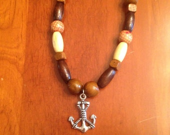 Boho long beaded necklace with anchor charm