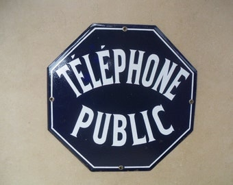 Vintage French ENAMELWARE TELEPHONE PUBLIC  Plaque/ Loft 1960/1970