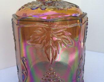 Vintage Indiana Carnival Glass Harvest Grape Biscuit Jar