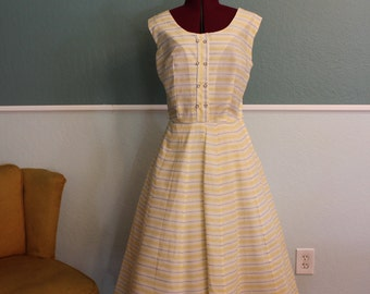 1950's Ann Taylor Yellow and White Stripe Dress