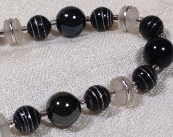 Vintage West German Black Painted and Clear Frosted Beads Necklace High Neck Style